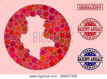 Vector Map Of Saxony-anhalt State Collage Of Circle Dots And Red Rubber Seal. Hole Round Map Of Saxo