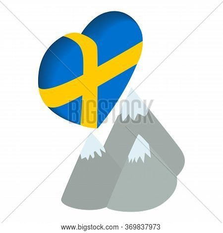 Sweden Moutain Icon. Isometric Illustration Of Sweden Moutain Vector Icon For Web