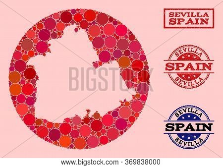 Vector Map Of Sevilla Province Mosaic Of Round Items And Red Grunge Stamp. Subtraction Round Map Of