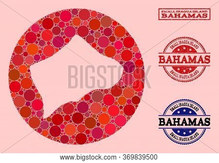 Vector Map Of Small Inagua Island Mosaic Of Round Dots And Red Watermark Stamp. Hole Round Map Of Sm
