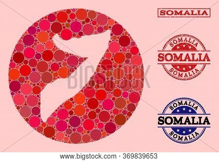 Vector Map Of Somalia Mosaic Of Circle Elements And Red Grunge Stamp. Subtraction Circle Map Of Soma