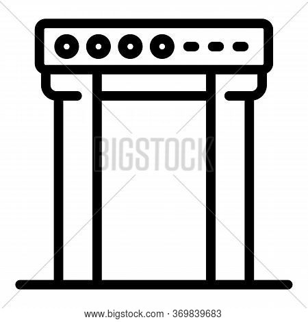 Gate Metal Detector Icon. Outline Gate Metal Detector Vector Icon For Web Design Isolated On White B