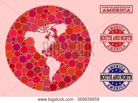 Vector Map Of South And North America Collage Of Spheric Items And Red Grunge Stamp. Stencil Round M