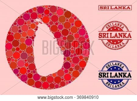 Vector Map Of Sri Lanka Mosaic Of Round Dots And Red Watermark Stamp. Subtraction Round Map Of Sri L