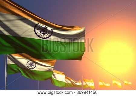 Pretty Many India Flags On Sunset Placed Diagonal With Selective Focus And Place For Content - Any F