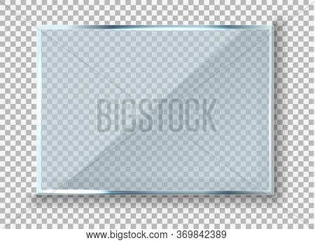 Vector Modern Transparent Reflecting Glass Banner. Glass Rectangle Plate Isolated On Transparent Bac