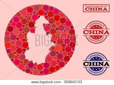 Vector Map Of Tianjin Municipality Mosaic Of Round Dots And Red Scratched Seal. Subtraction Circle M