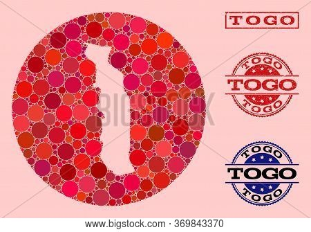 Vector Map Of Togo Mosaic Of Round Blots And Red Watermark Stamp. Stencil Round Map Of Togo Collage