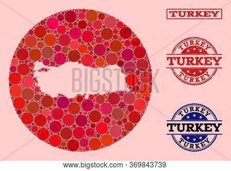 Vector Map Of Turkey Collage Of Spheric Blots And Red Grunge Seal Stamp. Hole Circle Map Of Turkey C