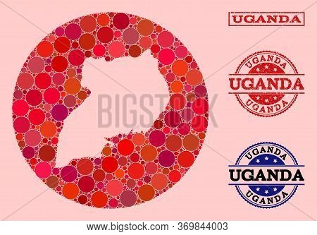 Vector Map Of Uganda Mosaic Of Round Items And Red Rubber Seal. Subtraction Round Map Of Uganda Coll
