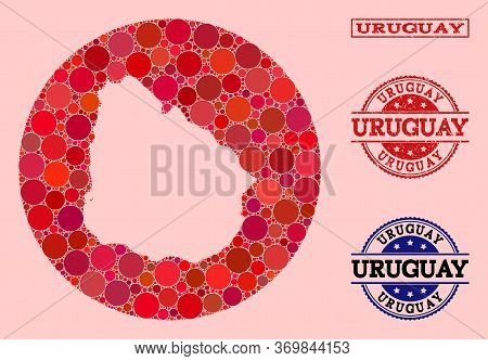 Vector Map Of Uruguay Collage Of Spheric Items And Red Scratched Seal. Hole Circle Map Of Uruguay Co