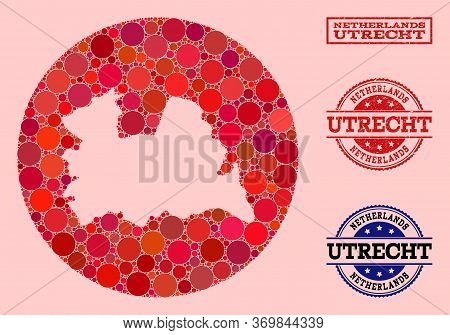 Vector Map Of Utrecht Province Collage Of Round Dots And Red Grunge Stamp. Hole Circle Map Of Utrech