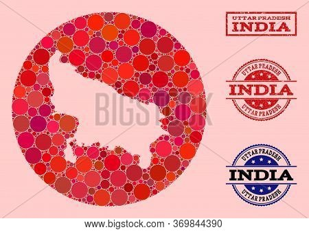 Vector Map Of Uttar Pradesh State Collage Of Circle Items And Red Watermark Stamp. Hole Round Map Of