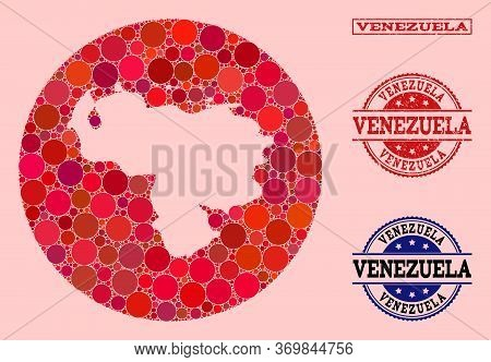 Vector Map Of Venezuela Collage Of Spheric Elements And Red Grunge Seal. Subtraction Round Map Of Ve