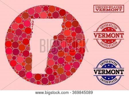 Vector Map Of Vermont State Collage Of Circle Dots And Red Watermark Seal Stamp. Hole Circle Map Of