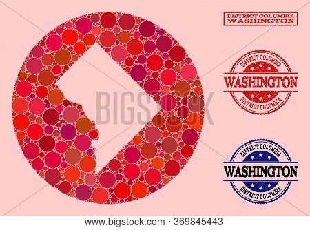 Vector Map Of Washington District Columbia Mosaic Of Circle Elements And Red Rubber Stamp. Stencil C