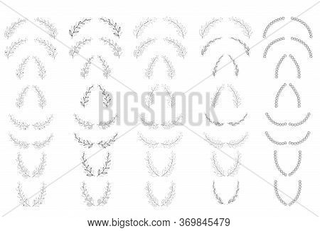 Set Of Black And White Silhouette Circular Laurel Foliate And Oak Wreaths Depicting An Award, Achiev