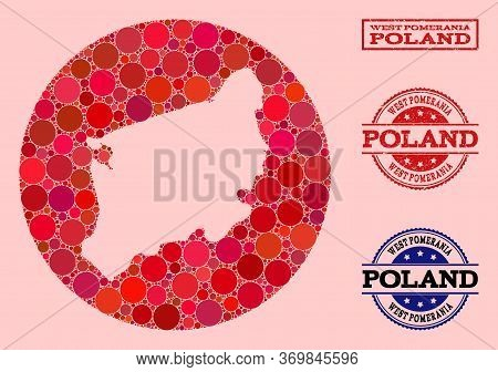 Vector Map Of West Pomerania Province Collage Of Circle Dots And Red Scratched Seal. Stencil Round M