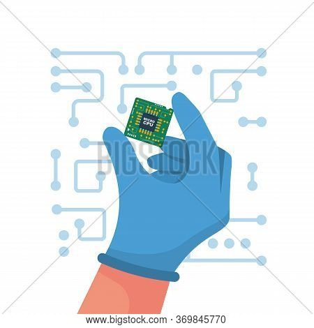 Computer Chip In Hand. Vector Illustration Flat Design. Isolated On White Background. Cpu Computer C