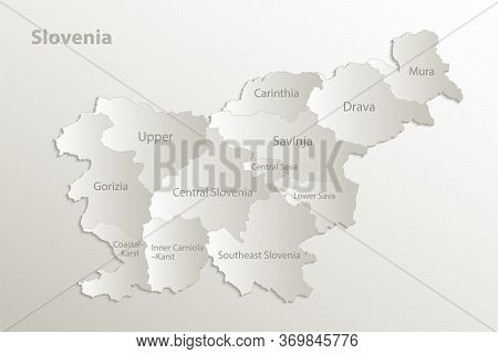 Slovenia Map Administrative Division Separates Regions And Names Individual Region, Card Paper 3d Na