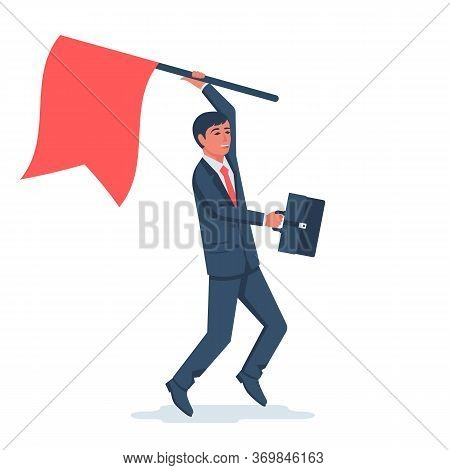 Businessman Hold Red Flag. Goal Achievement. Mountain Peak As A Symbol Successfull Mission. Business