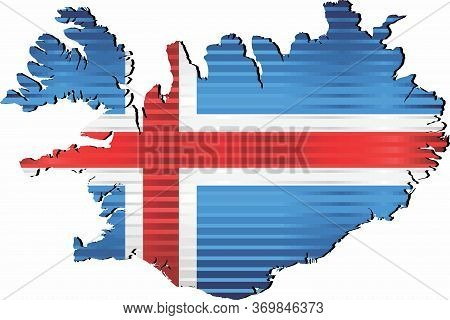 Shiny Map Of Iceland - Illustration,  Three Dimensional Map Of Iceland