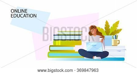 Online Education Banner With Young Girl, Laptop, Books And Plant. E-learning Concept For Landing Pag