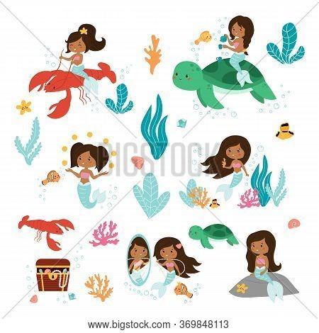 Vector Set Of Little Mermaid, Fish, Seaweeds And Coral Reef. Kawaii Cartoon African American Mermaid