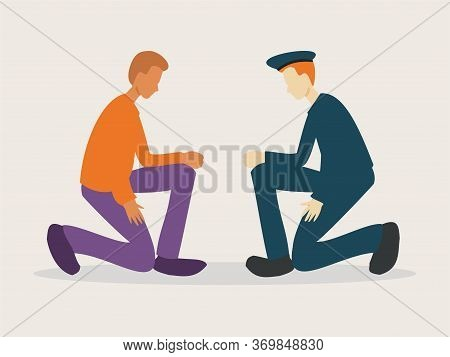 Illustration Of A White Police And A Afro American Man Taking Knee In Tribute To Victims Of Racism -