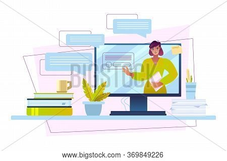 Online Education Concept With Young Female Teacher, Computer Screen, Books, Plants, Papers. Digital