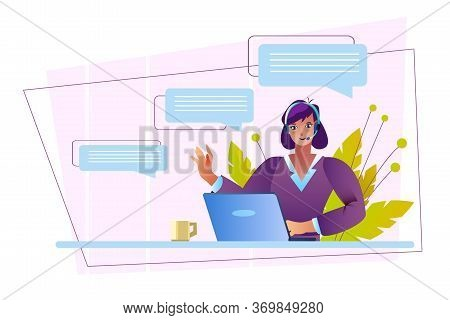 Helpdesk Concept With Female Customer Support Representative Working With Her Laptop. Online Client