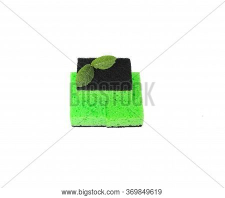 Washcloths For Cleaning, Green Color, On A White Background. Rags For Washing Dishes. Sponges For Cl