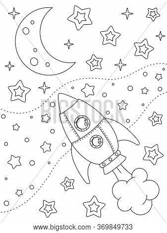 Coloring Page With Rocket, Moon, Nebulae And Stars, Black Elements On A White Background. Open Space