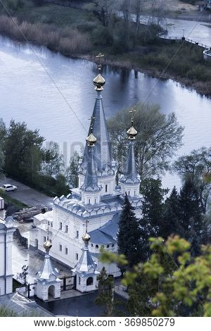 Sviatohirsk Lavra Over The Seversky Donets. New Lavra Church On A Cloudy May Day. View From Above