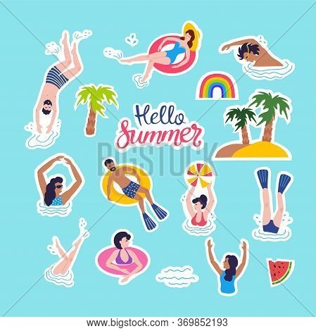 Summer Patches Collection. Illustration Of Funny Summer Symbols And Icons With Swimmers, Rainbow, Wa