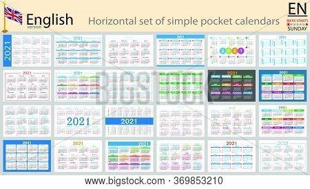 English Horizontal Set Of Pocket Calendars For 2021 (two Thousand Twenty One). Week Starts Sunday. N