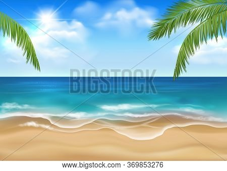Vector Sunny Sandy Beach With Idyllic Sea Scenery, Blue Sky With Sun And Clouds And Green Palm Leave