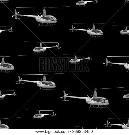Helicopter Pattern. Helicopter Aircraft. Vector Themed Background. Flat Style. Seamless Pattern With