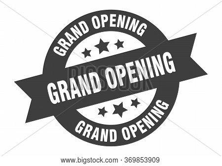 Grand Opening Sign. Grand Opening Black Round Ribbon Sticker