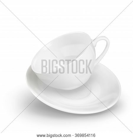 A Small Empty Porcelain White 3d Realistic Cup And Saucer Flies In Dynamics. Vector Illustration Iso