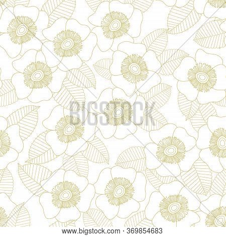 Vector Flowers In Gold Outlines On White Background Seamless Repeat Pattern. Background For Textiles