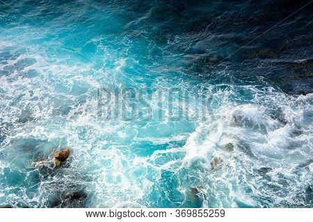 Texture Of Sea Waves. Natural Water Background. Stormy Weather. View From Above
