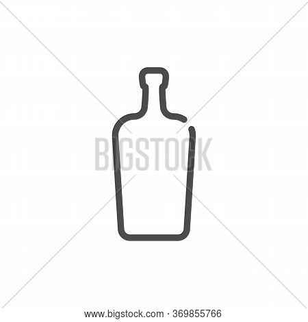 Liquor Bottle In Flat Style On White Background. Simple Template Design. Beverage Icon Design. Isola