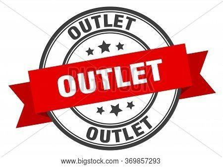 Outlet Label. Outlet Red Band Sign. Outlet