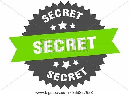 Secret Sign. Secret Green-black Circular Band Label