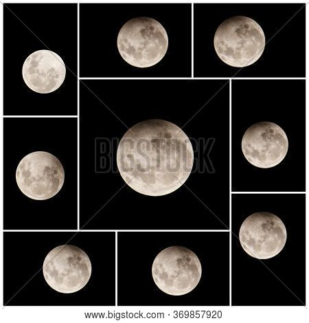 Penumbral Lunar Eclipse 2020 Stages. The Phases Of A Penumbral Lunar Eclipse 'strawberry Moon'from E