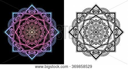 Mandala Pattern Mixed In Modern Thai Art Style In 2 Type. Left Image Gradient Color Is Merge, Right