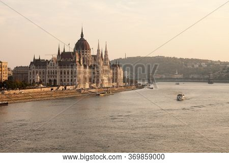 Budapest Parliament During Day Light. Danube River.