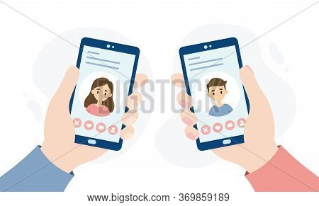 Dating Application For Smartphones. Hands Holding Smartphones. People Dating Through An Online App.