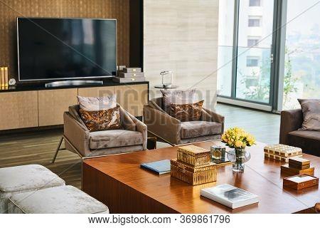 Interior Design Of Modern Living Room. Luxury Estate